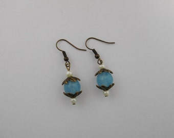 Blue agate earrings with antique bronze leaf bead caps