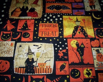 "Witchful Thinking Dan Di Paulo Clothworks Fabrics 1 panel cotton fabric 24"" x 44"" Halloween witch bats pumpkins Trick or Treat"