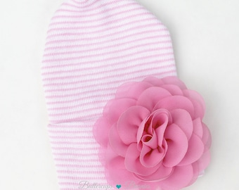 Newborn hat with Flower PINK  newborn hospital hat coming home Baby girl hat pink flower hat baby hat baby girl pink hospital hat