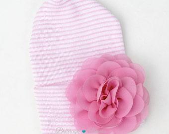 Newborn hat with Flower PINK  newborn hospital hat coming home Baby girl hat pink flower hat baby hat baby girl pink hospital hat