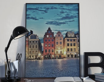 Stockholm Photography, Sweden Poster Print, Europe Photography, European Architecture, Gamla Stan, Travel Photography, Travel Europe Print