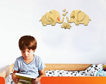 Kids room decoration, acrylic mirror decals, elephant family with love expression, kindergarten  view