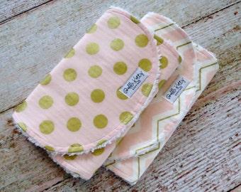 Baby Burp Cloths - Baby Girl Burp Cloths - Pink Gold Polka Dot Burp Cloths - Pink Gold Chevron Burp Cloths - Pink Burp Cloths - Baby Shower