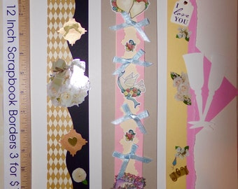 12 Inch Scrapbook Borders , 3  for 1 sale! Free Shipping!
