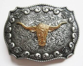 Longhorn Bull Western Cowboy Rodeo Belt Buckle