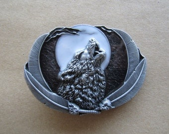Wolf Moon Western Cowboy Rodeo Belt Buckle