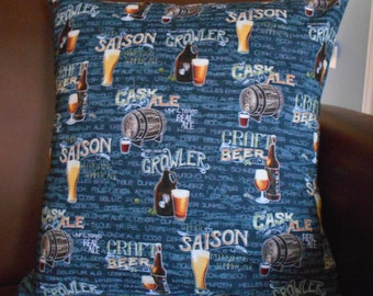 "PC-31  16""X16""  Awesome pillow cover for every beer lover.  Come fill your glass with a multitude of craft beers or ale."