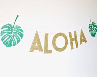 Aloha - Aloha Banner - Luau Party - Aloha Bridal Shower - Tropical Party - Hawaiian Banner - Aloha Party - Aloha Bridal Shower Decorations