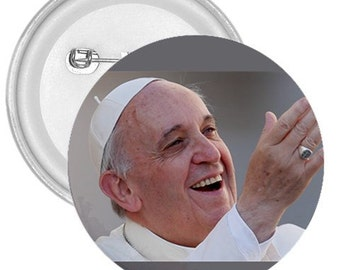 "Pope francis  gigantic 3"" pin button"