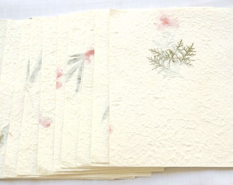 """10x Dried Pressed  Leave or Flower Handmade Mulbery paper - Scrapbook, Card 8 1/2"""" x 11""""  yhp004"""