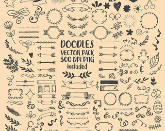 Hand drawn Scribble, Sketch, drawing, Doodle Clipart Clip Art PNG & Vector EPS AI Scrapbook Design Element Digital Instant Download