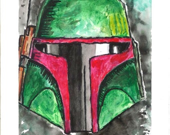 Boba Fett Watercolor Print