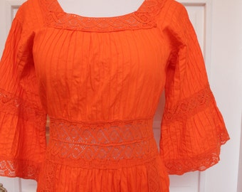 Vintage 1960's Orange Pintucked Cotton and Crochet Mexican Wedding Dress, Boho Maxi Dress - Size Large