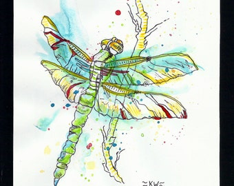 Dragonfly *Original Ink and Watercolor Painting*