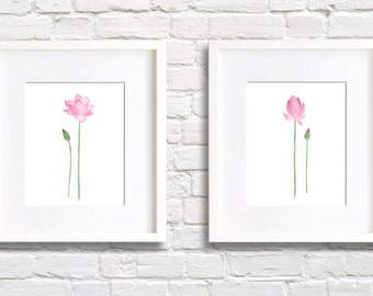 Lotus Blossom Art Prints - Set of Two - Wall Decor - Watercolor Painting