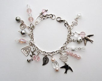 Dainty Pink & Silver Handcrafted Charm Bracelet, bird jewelry, charm bracelet, dainty jewelry, pink jewelry, pink bracelet, wirework jewelry