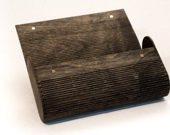 Wood Clutch Purse / Laser Cut Living Hinge / Ebony