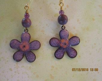 purple flower copper enameling earrings with purple glass beads