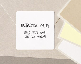 "FUNKY font return address label stickers modern minimalist personalized square 20 medium 2"" labels plain white cream tan"
