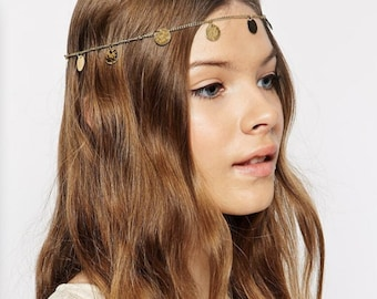 Golden Headband Tassels Sequin Copper/Boho Head Chain/adjustable fashion wedding head piece/ Bohemian style