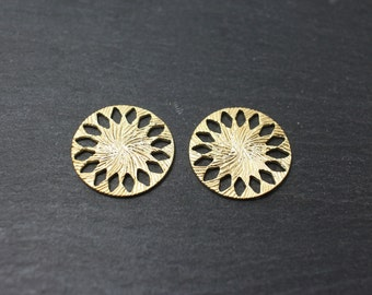 P0172/Anti-Tarnished Matte Gold Plating Over Brass/Patterned Circle Connector/19x 19mm/2pcs
