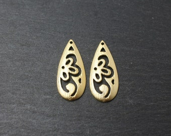 P0184/Anti-Tarnished Matte Gold Plating Over Brass/Patterned drop pendant/25x10mm/2pcs