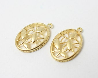 P0318/Anti-Tarnished Matte Gold Plating Over Brass/Embroidery Board Pendant/15x22mm/2pcs