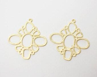 P0355/Anti-Tarnished Matte Gold Plating Over Brass/Circles Rhombus Pendant/32x34mm/2pcs