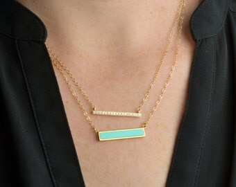 Turquoise Diamond Bar Necklace Set / Paved bar / Sterling Silver, Gold / Delicate Necklace / Layering Necklace