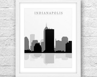 Indianapolis City, Indianapolis Printable, Indianapolis Art, Indianapolis Skyline, Minimal Design, Minimalist Art, Instant Download