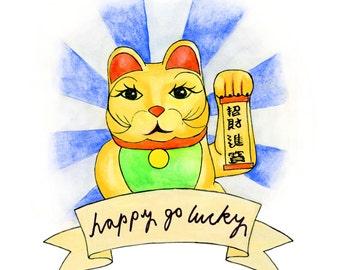 Happy Go Lucky Print - Fortune Cat (Maneki Neko)