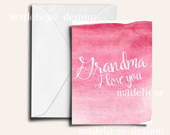 Grandma I love you Card - Mother's Day, Mom Day, Mother's Day Card, Recycled Paper Card, Grandma, Grandparents, Nana