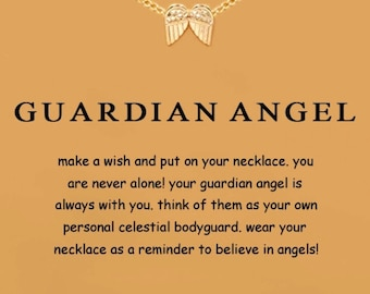 Guardian Angel Gold dipped wings charm Pendant chain necklace with Sentiment greeting card gift quote quotes