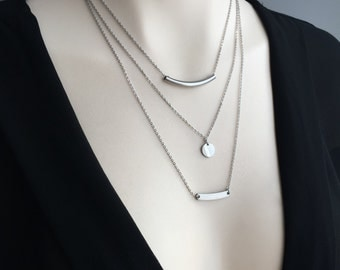 Set of Layered Necklace - Layering Necklace Set - Layered Necklace - Stainless Steel Y Necklace (sku 1056)