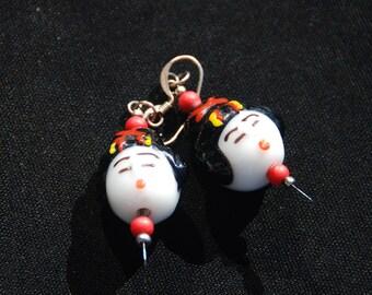 Handmade Lampwork Glass Bead Geisha Head Drop Earrings