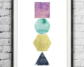 Minimalist Abstract Shapes, Printable Geometric, Circle, Triangle, Hexagon, Square, Watercolor Shapes, Abstract Shapes, Scandinavian Art
