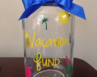 Vacation Fund Mason Jar with Slot in Cap - choose your colors - quart or gallon size!
