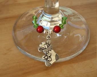 Pack of 2 : Christmas Stocking wine / champagne charm