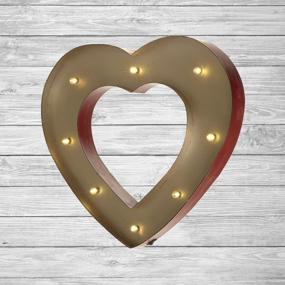 Freestanding LED Light Up Heart Letter Lights Numbers