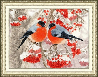 Cross Stitch Kit by Golden Fleece - BULLFINCHES