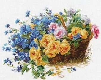 Cross Stitch Kit by Alisa - Roses and Cornflowers