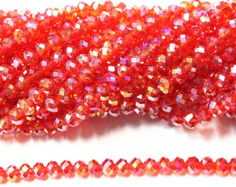 6mm x 8mm Crystal Faceted rondelle Beads Full Strand, Crystal Beads, Beading Supplies, Jewelry Supplies