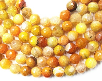 12mm Faceted Dyed Agate Beads, 14 inches Full Strand, Gemstone Beads, Beading Supplies, Jewelry Supplies