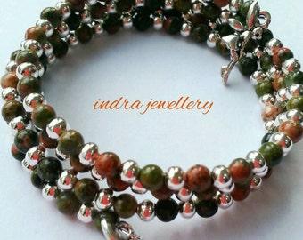 Unakite wrap bracelet - boho wrap bracelet - beaded wrap bracelet - memory wire bracelet