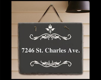 House Numbers - House Signs - Custom House Signs - House Number Signs - Address Plaques - Slate House Signs - House Number Plaque - Filigree