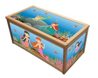 Mermaid Toybox / Wooden Toy Box /  Chest Box