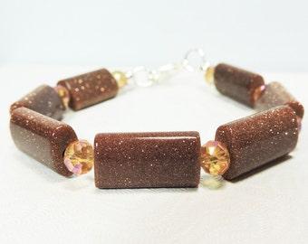 Bracelet Beaded Brown Sand Stone
