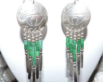 SALE - Sterling Silver Malachite Dangle Earrings