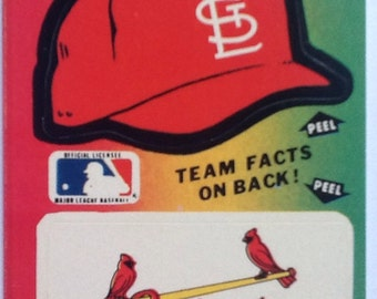 Vintage 1980's Fleer Team MLB baseball Sticker Card St.Louis Cardinals