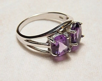 Handmade Sterling silver White Gold Plated And Amethyst Ring (Size 9 )